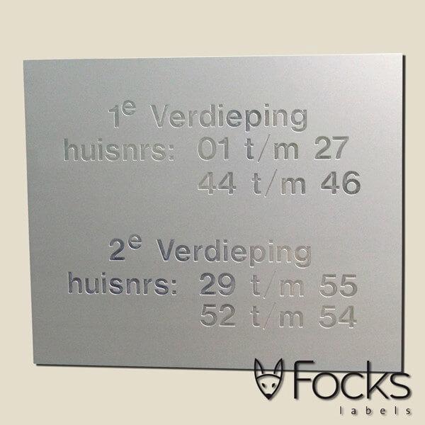 Informatiebord geanodiseerd aluminium, gegraveerd