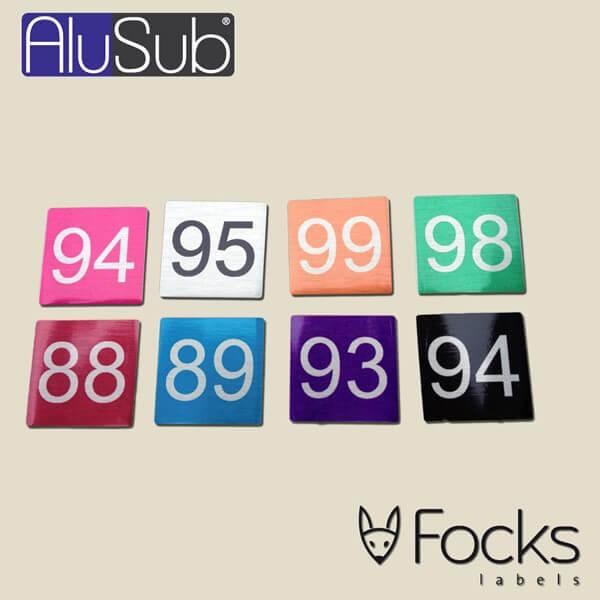 Nummerlabels met oplopende nummerreeks, AluSub aluminium, full colour bedrukking in topcoating