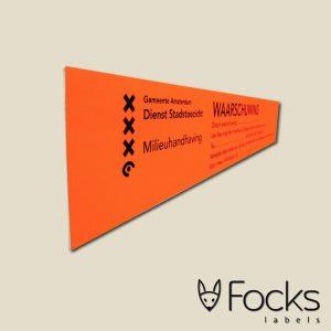 Waarschuwingssticker fluoriserend, permanente kleeflaag