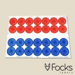 Keuringsstickers op vel, meerdere kleuren zeefdruk