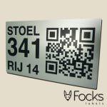 QR code label voor stadion stoel van geanodiseerd aluminium, bedrukking is slijtvast, krasvast, chemisch resistent