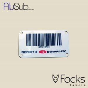Barcode label Bowflex met wisselende code, slijtvast full colour bedrukt op blank geborsteld AluSub aluminium