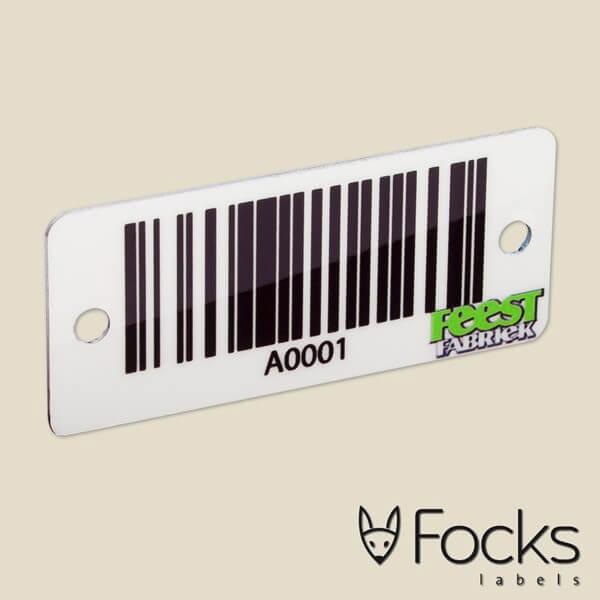Barcode label FeestFabriek, met wisselende barcode, slijtvast en in full colour bedrukt op wit AluSub aluminium