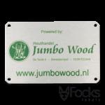 Naamplaat voor Jumbo Wood voor terrasoverkappingen, AluSub aluminium, blank geborsteld, bedrukking in 1 kleur, slijtvast in transparante topcoating, met 3M468 kleeflaag.