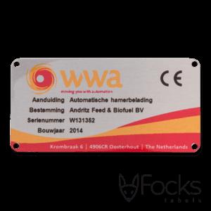 Typeplaatje WWA, voor machine, AluSub aluminium, blank geborsteld, lay out is full colour en slijtvast gedrukt in de transparante topcoating