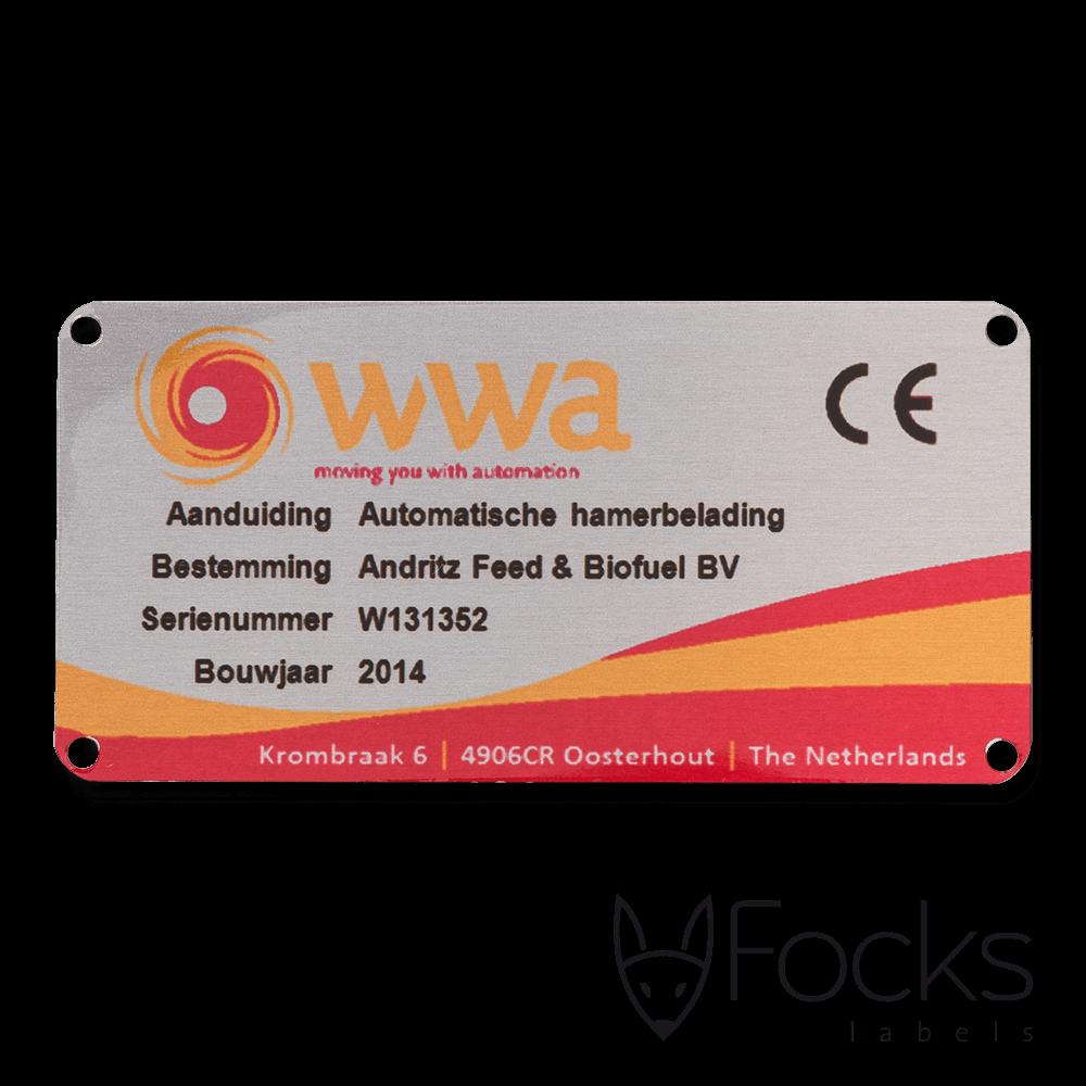 Machineplaatje WWA, AluSub aluminium, blank geborsteld, lay out is full colour en slijtvast gedrukt in de transparante topcoating