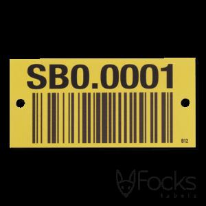 Barcode label voor Verma systemen, geanodiseerd aluminium, full colour en slijtvast bedrukt, unieke code per label, met boorgaten.