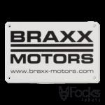 Merk label voor Braxx Motors, geanodiseerd aluminium, slijtvast bedrukt, met 2 boorgaatjes.