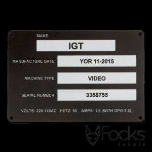 Typeplaat met oplopende serienummers, 0,5 mm dik AluSub aluminium, met wisselende gegevens