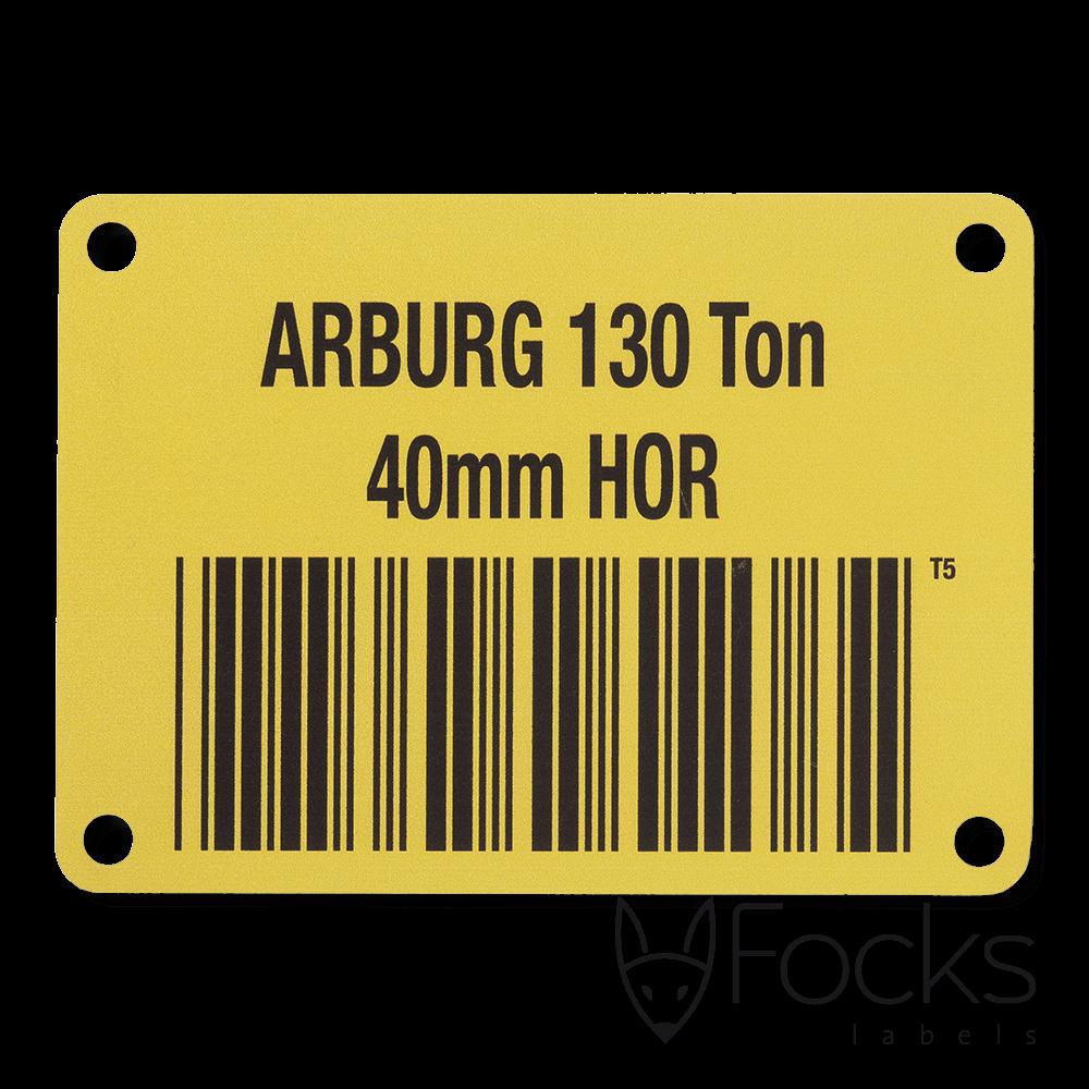 Barcode plaat, geanodiseerd aluminium