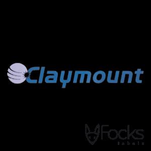 Merklabel Claymount, voor industriële machine, 3D metaal, in 2 kleuren vernikkeld, met transparante overdrachtsfolie voor montage.