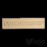 Merklabel voor luxe serveerplanken, gegoten zinklegering, licht geborsteld goud glanzend vernikkeld, met 2 montagepennen.