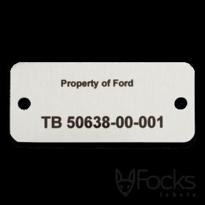 Identificatie tag om eigendom aan te tonen, AluSub aluminium, slijtvast in transparante topcoating, met boorgaten.