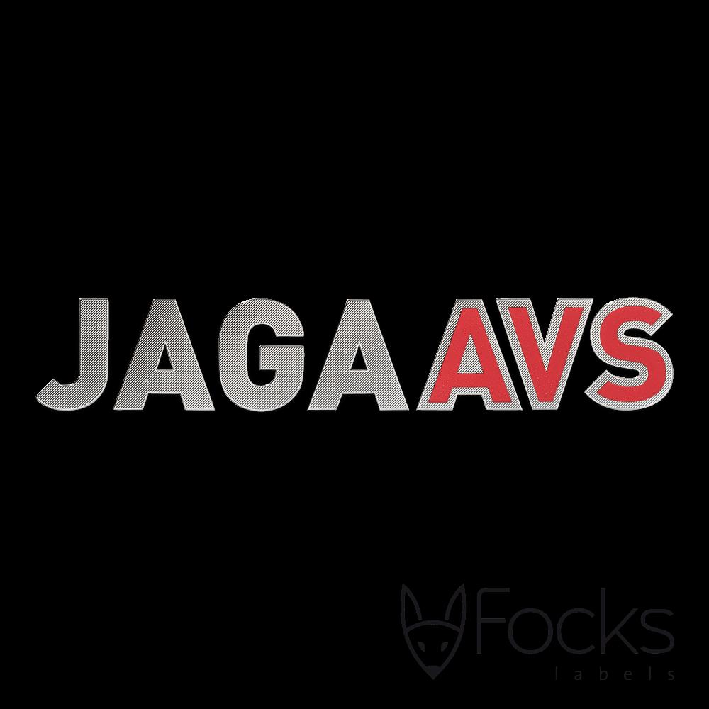 Naamlabel Jaga voor radiatoren, 3D metaal, basislaag zilverglanzend vernikkeld met fijne structuur, met extra laag rood glanzend vernikkeld.