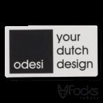Naamplaatje voor Odesi meubels, van geanodiseerd aluminium, 1 kleur digitaal geprint, slijtvast in aluminium