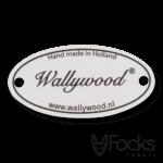 Naamlabel aluminium, slijtvaste bedrukking in 1 kleur, contour gefreesd, voorzien van 2 boorgaten