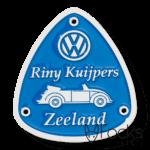 Naamplaatje geanodiseerd aluminium voor klassieke auto's, achtergrond verdiept gegraveerd, ingelakt in 1 kleur, met boorgaten