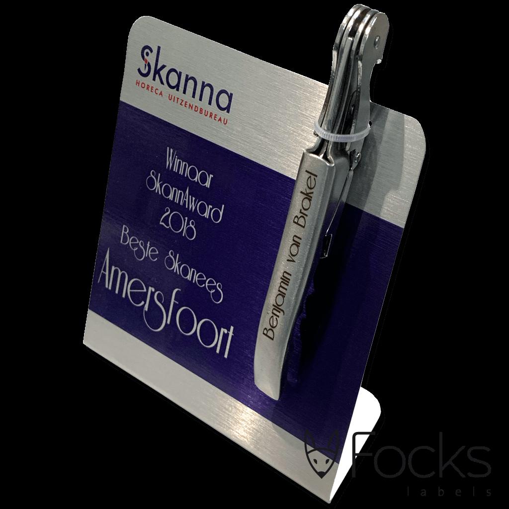 Award AluSub aluminium met lasergegraveerd kelnersmes voor Skanna