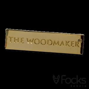 Naamlabel 18 karaat verguld, voor The Woodmaker