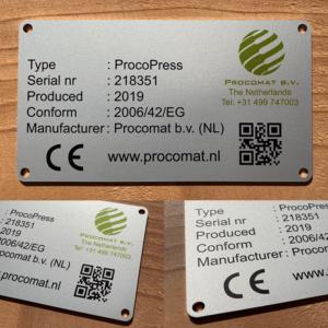 Typeplaat geanodiseerd aluminium met slijtvaste bedrukking